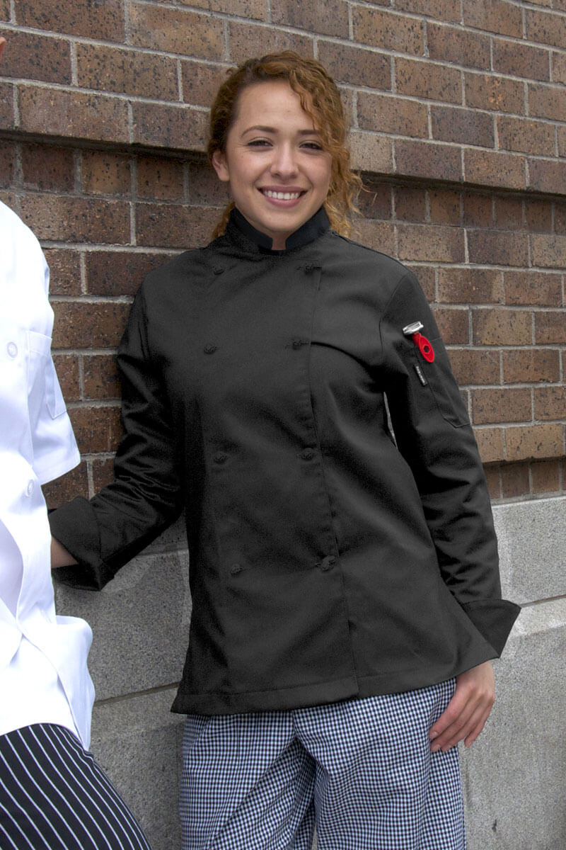 Women's Color Chef Coat - Black w/Knot Butons