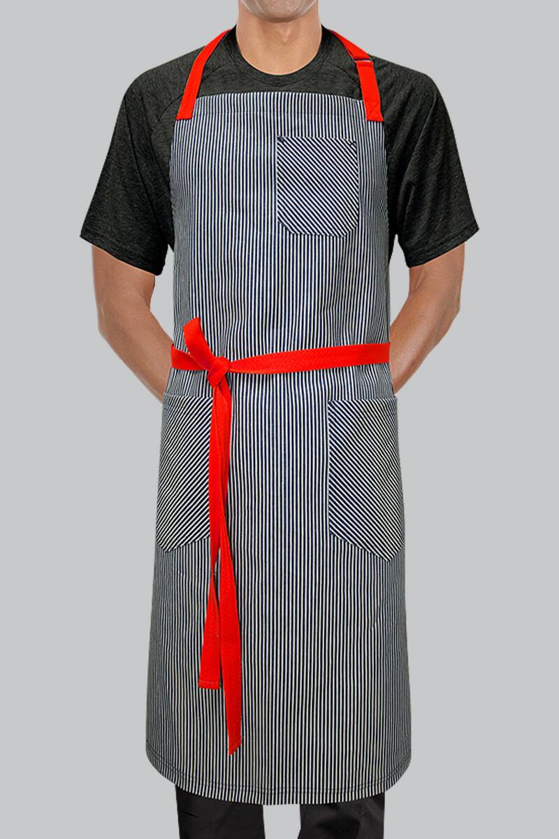 Maddox Bib Apron - Indigo Stripes