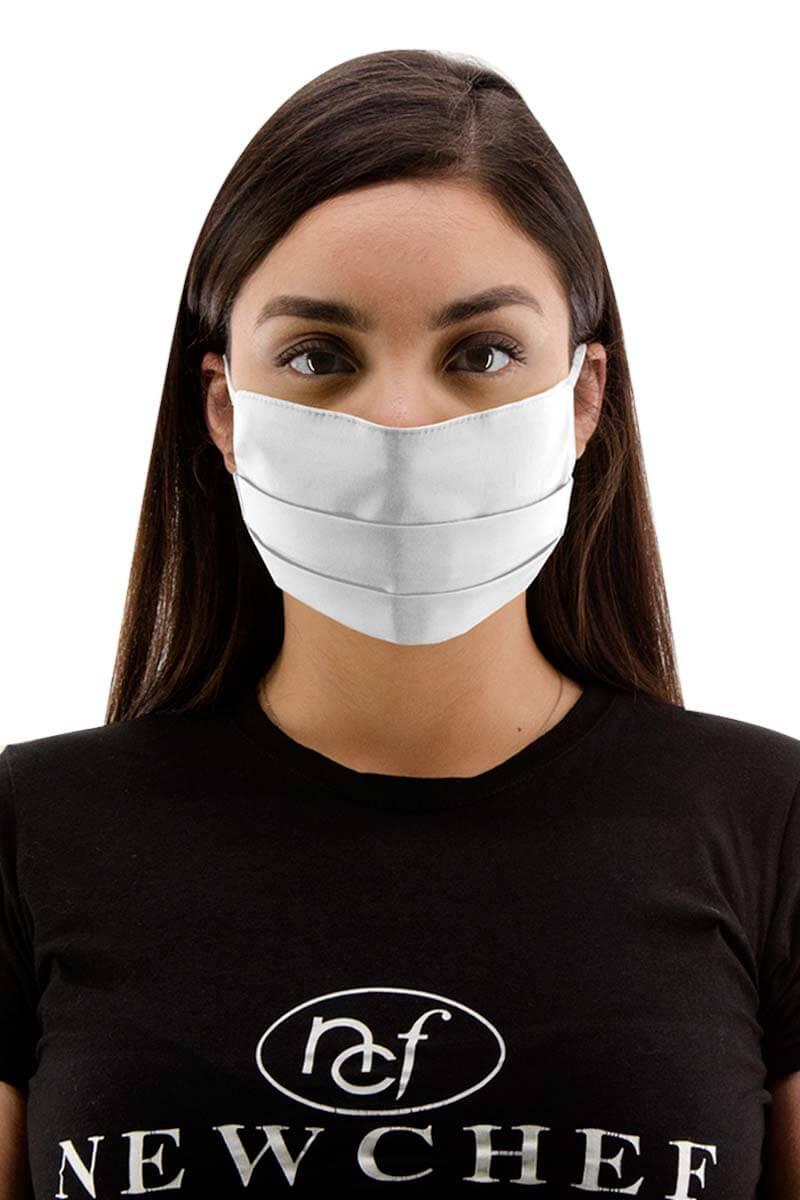 Pleated 100% Cotton Face Mask - White