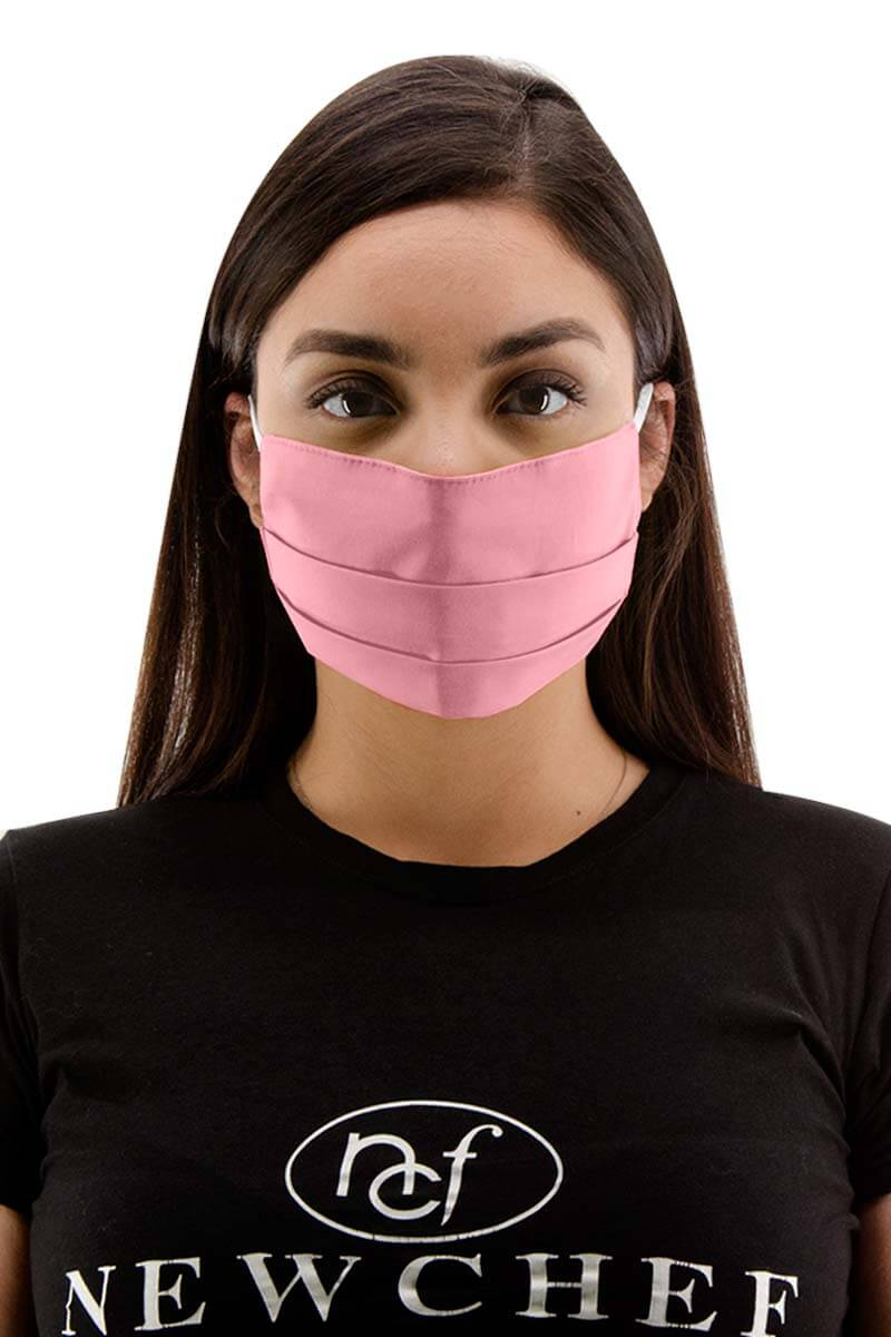 Pleated 100% Cotton Face Mask - Pink
