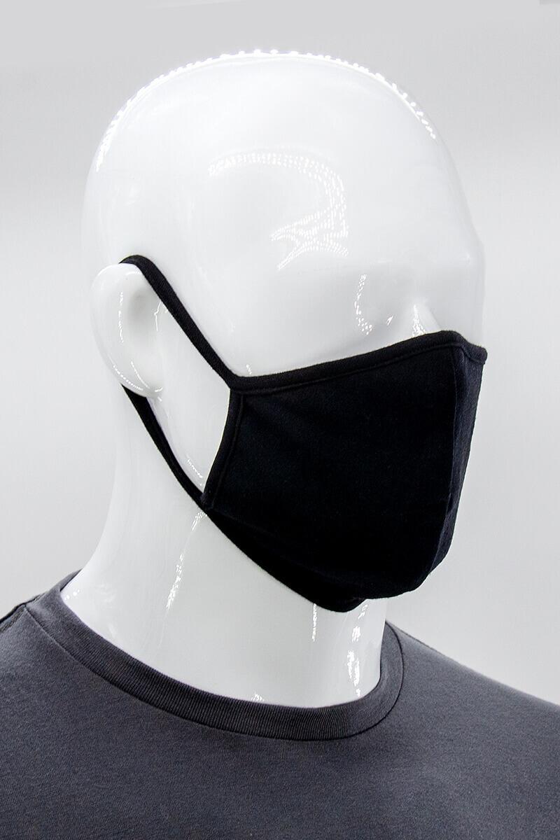 100% Cotton T-Shirt Jersey Face Mask - Black