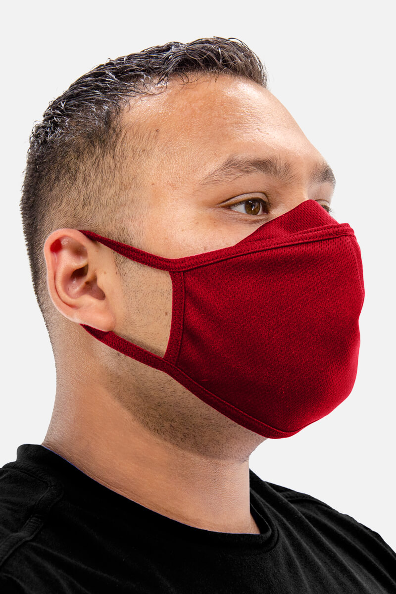 100% Poly Mesh Active Dry Face Mask - Light Red