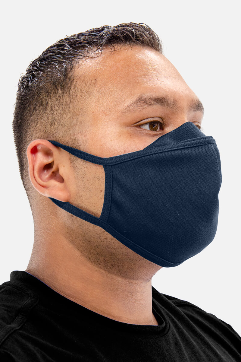 100% Poly Mesh Active Dry Face Mask - Navy Blue