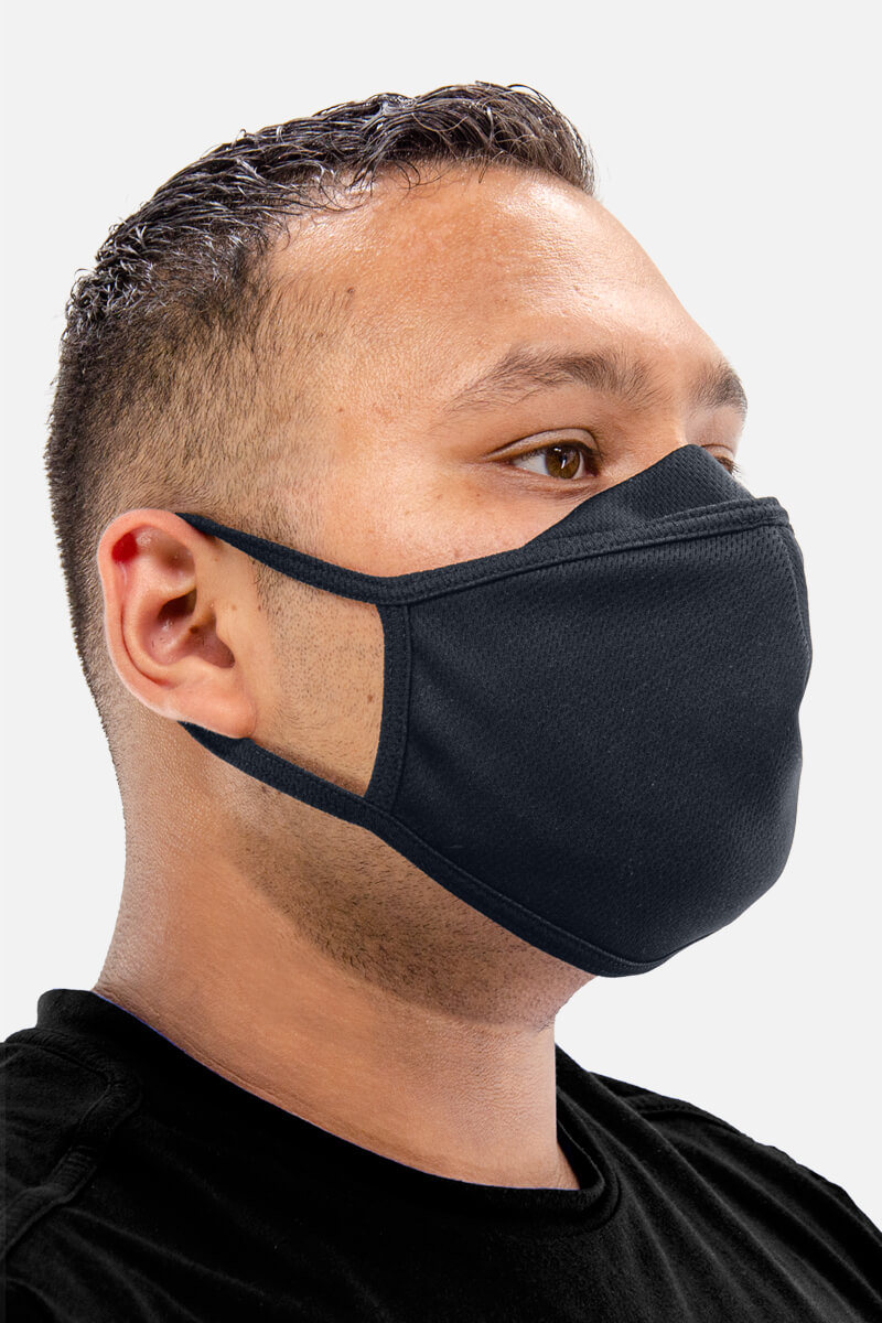 100% Poly Mesh Active Dry Face Mask - Charcoal