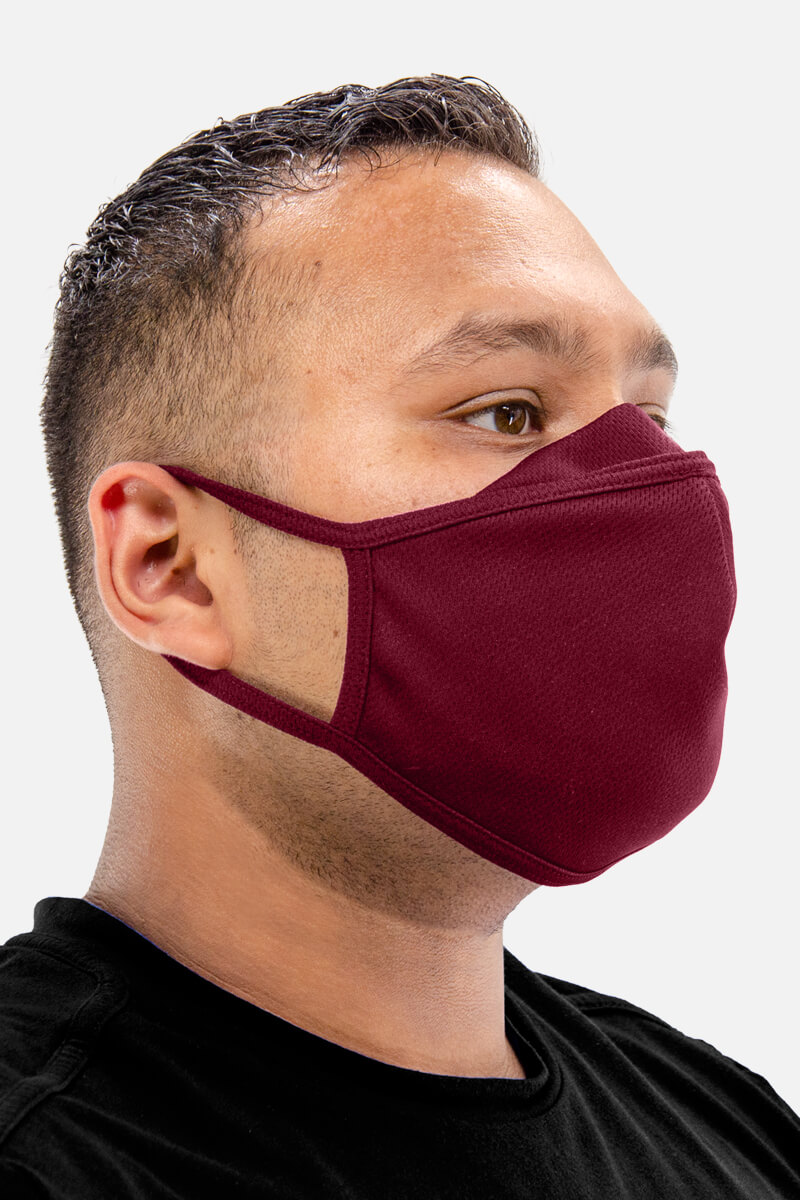 100% Poly Mesh Active Dry Face Mask - Burgundy
